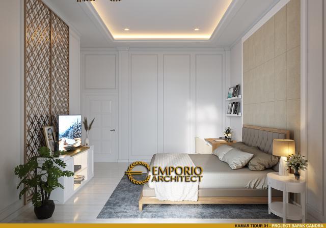 Desain Kamar Tidur 1 Rumah Mediteran 3 Lantai Bapak Candra di Jakarta