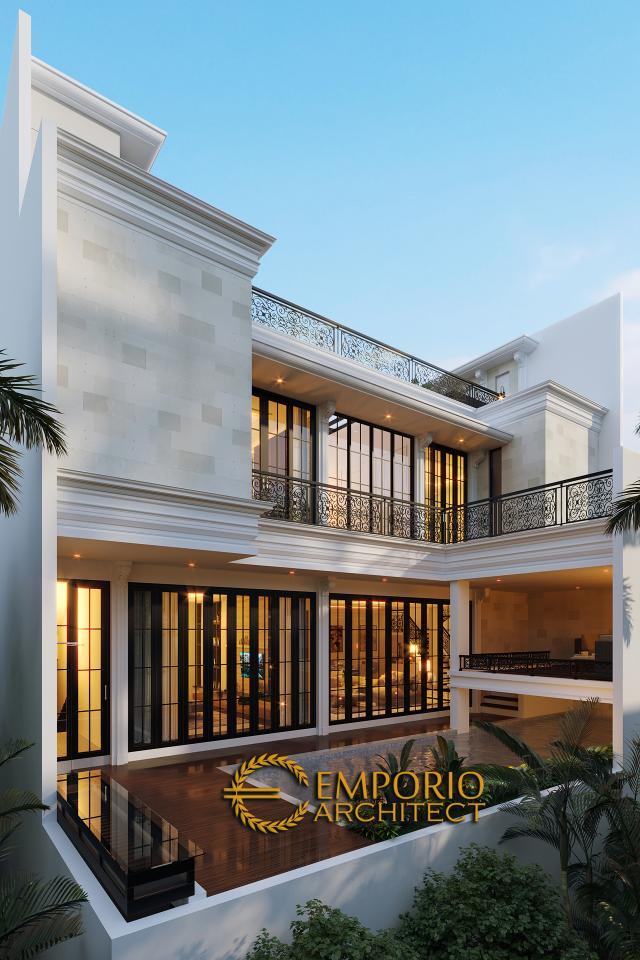 Desain Tampak Belakang Rumah Classic 3.5 Lantai Ibu Tien di Jakarta
