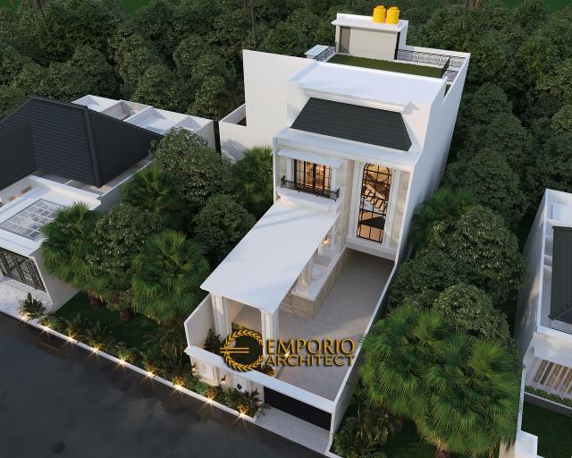 Desain Master Plan Tampak Depan Rumah Classic 3.5 Lantai Ibu Tien di Jakarta
