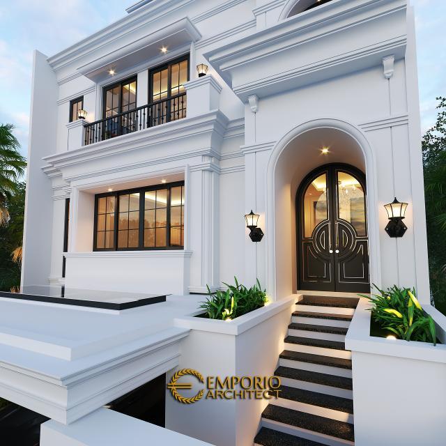 Desain Tampak Detail Depan Rumah Classic 3.5 Lantai Ibu Tien II di Jakarta Selatan