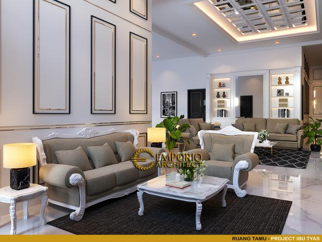 Desain Ruang Tamu Rumah Classic 3.5 Lantai Ibu Tyas di Jakarta Selatan