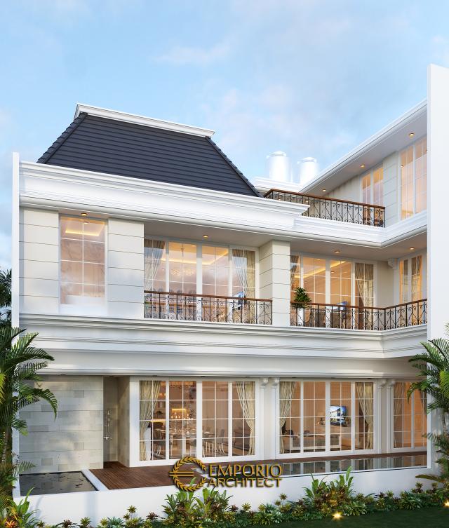 Desain Tampak Belakang Rumah Classic 3.5 Lantai Ibu Wiena di Jakarta Selatan