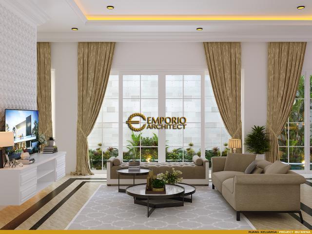 Desain Ruang Keluarga Rumah Classic 3.5 Lantai Ibu Wiena di Jakarta Selatan