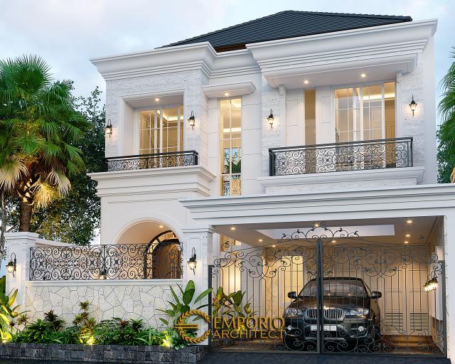 Desain Tampak Depan Dengan Pagar Rumah Classic Modern 2 Lantai Ibu Suci di Depok, Jawa Barat