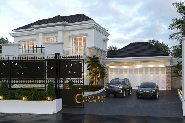 Desain Tampak Depan Dengan Pagar Rumah Classic Modern 2 Lantai Bapak Kartika di Cikeas, Bogor, Jawa Barat