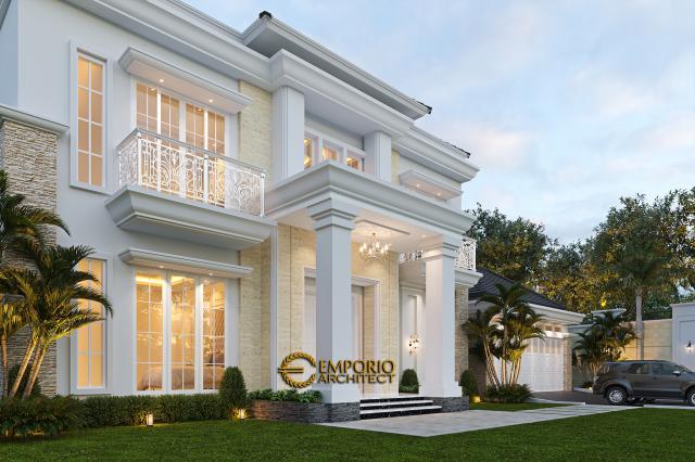 Desain Tampak Detail Depan 1 Rumah Classic Modern 2 Lantai Bapak Kartika di Cikeas, Bogor, Jawa Barat