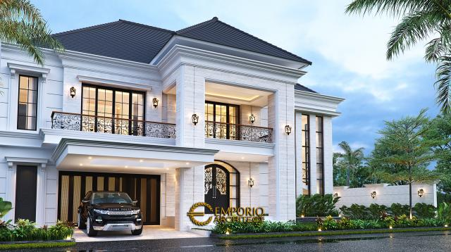 Desain Rumah Classic Modern 2 Lantai Bapak Budi di Surabaya, Jawa Timur - Tampak Depan