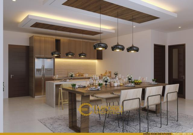 Desain Ruang Makan dan Dapur Rumah Hook Modern 2 Lantai Ibu Dery di Jakarta Utara