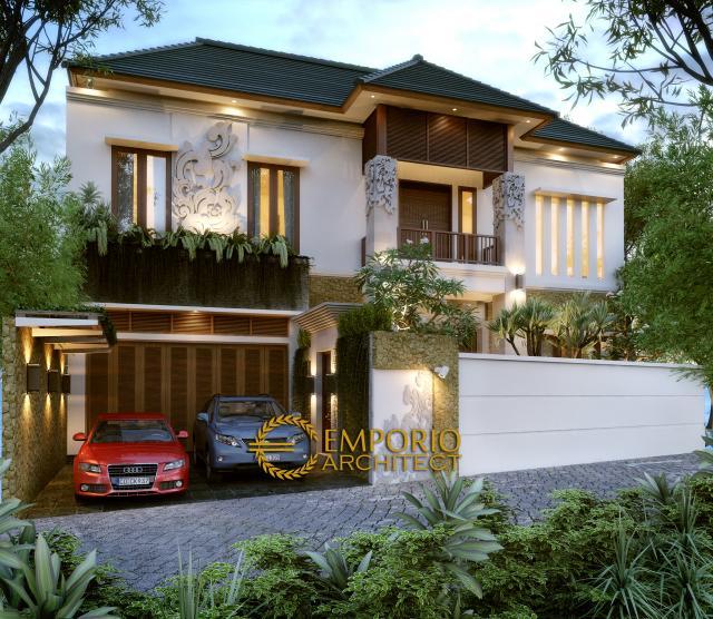 Desain Tampak Depan Rumah Villa Bali 2 Lantai Ibu Dera di Lumajang, Jawa Timur