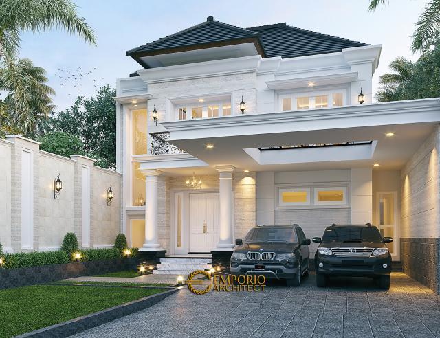 Desain Tampak Depan 2 Rumah Klasik 2 Lantai Bapak Irman di Batam