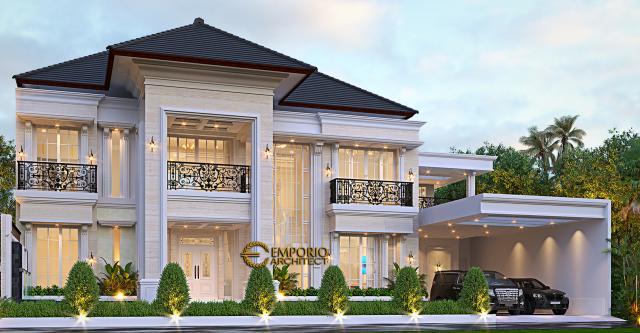 Desain Tampak Depan Kiri Rumah Klasik 2 Lantai Ibu Risma di Purwakarta, Jawa Barat