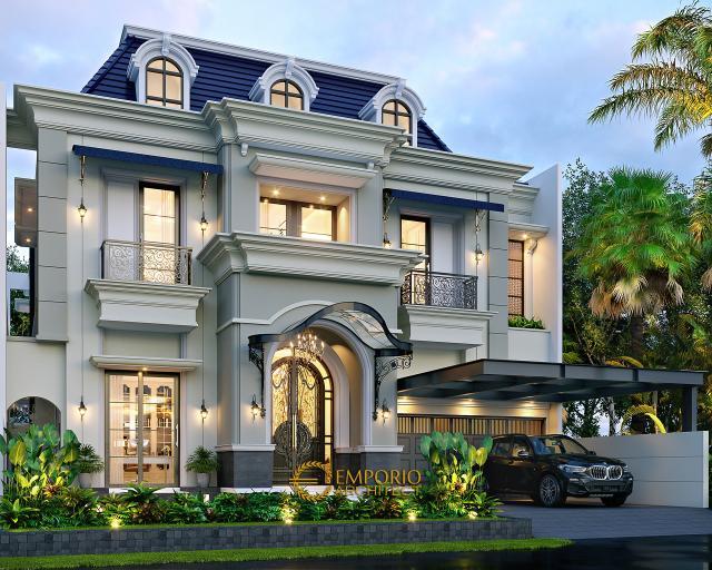 Desain Rumah Klasik 2 Lantai Ibu Chryslie II di Surabaya - Tampak Depan Kiri