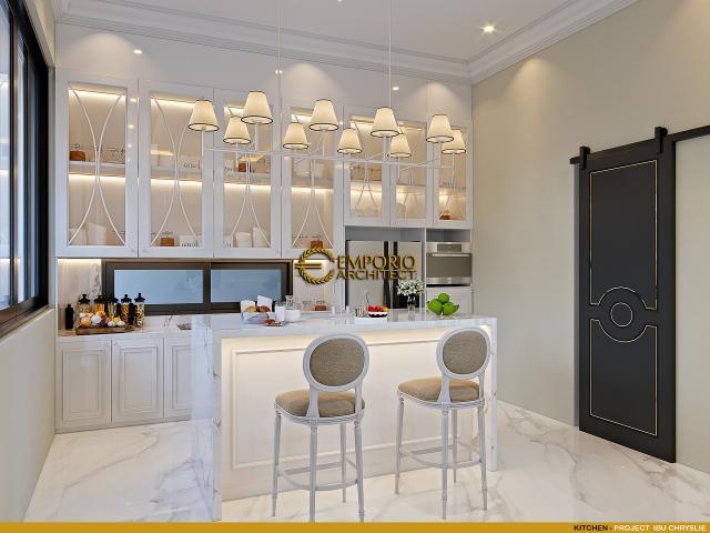 Desain Dapur Rumah Klasik 2 Lantai Ibu Chryslie II di Surabaya