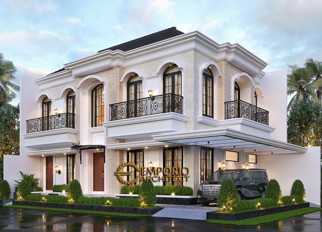 Desain Tampak Hook Rumah Klasik 2 Lantai Bapak Andry Wisnu di Jakarta