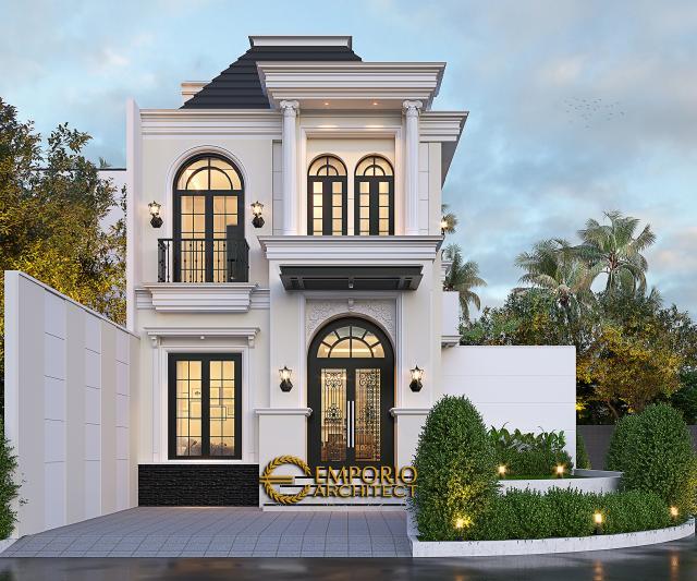 Desain Tampak Depan 2 Rumah Klasik 2.5 Lantai Bapak Aldi II di Bandung