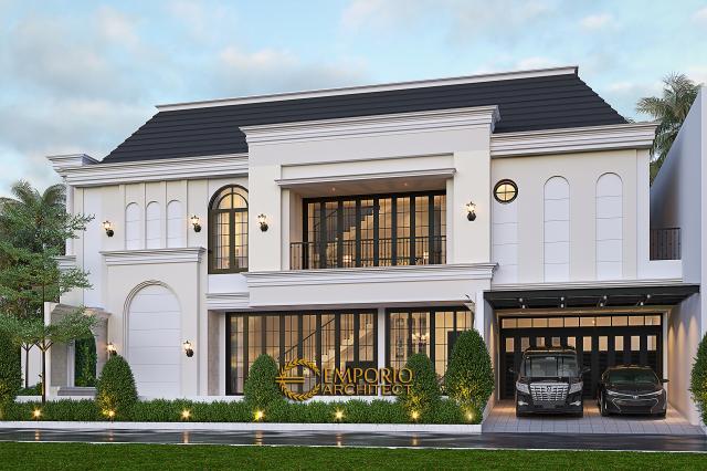 Desain Tampak Samping Rumah Klasik 2.5 Lantai Bapak Aldi II di Bandung
