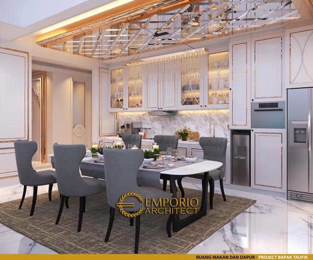 Desain Ruang Makan dan Dapur Rumah Klasik 2.5 Lantai Bapak Taufik di Bandung, Jawa Barat