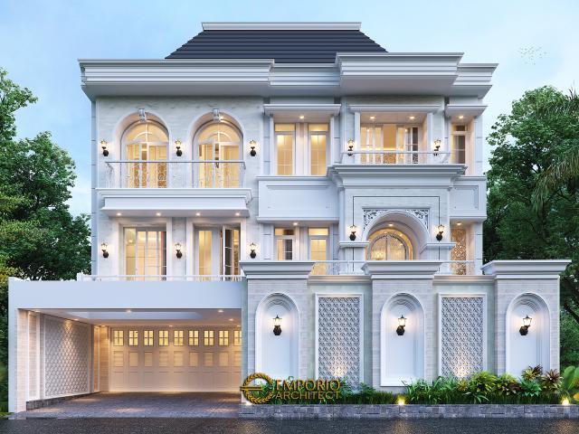 Desain Tampak Depan 3 Rumah Klasik 2.5 Lantai Bapak Taufik di Bandung, Jawa Barat