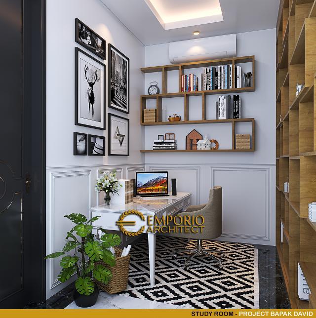 Desain Ruang Belajar Rumah Klasik 3 Lantai Bapak David di PIK, Jakarta Utara