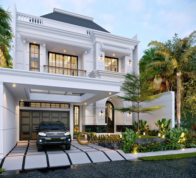 Desain Tampak Depan 2 Rumah Klasik 3 Lantai Ibu Reni di Jakarta Barat