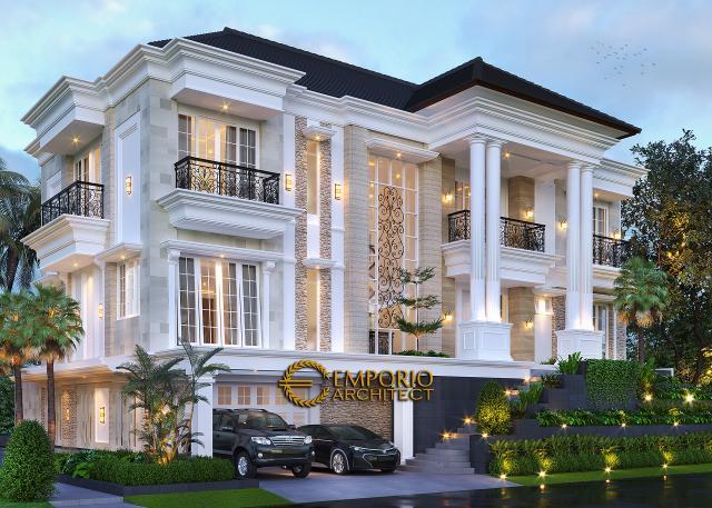 Desain Rumah Klasik 3 Lantai Ibu Selvy di BSD, Tangerang Selatan, Banten - Tampak Depan