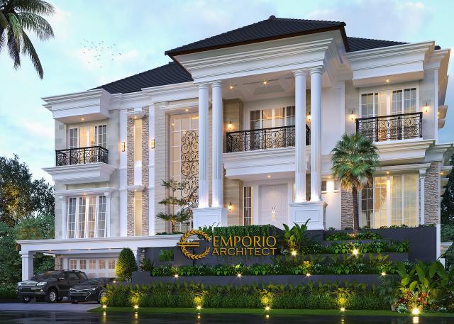 Desain Tampak Depan 2 Rumah Klasik 3 Lantai Ibu Selvy di BSD, Tangerang Selatan, Banten