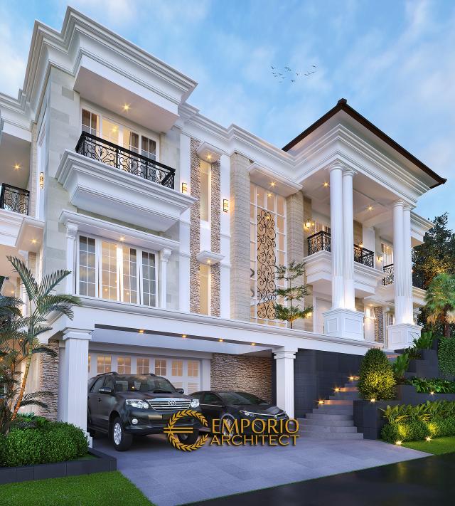 Desain Tampak Detail Depan Rumah Klasik 3 Lantai Ibu Selvy di BSD, Tangerang Selatan, Banten