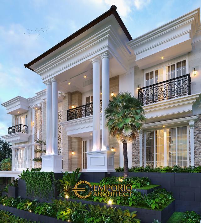 Desain Tampak Detail Depan 2 Rumah Klasik 3 Lantai Ibu Selvy di BSD, Tangerang Selatan, Banten