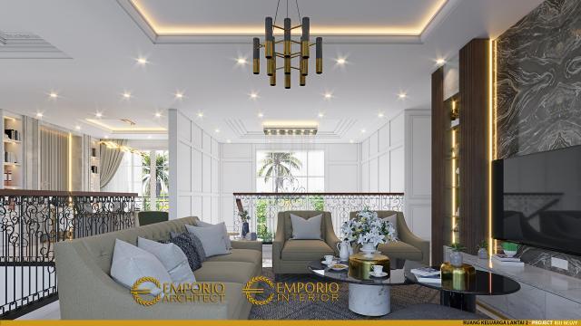 Desain Ruang Keluarga Lantai 2 Rumah Klasik 3 Lantai Ibu Selvy di BSD, Tangerang Selatan, Banten