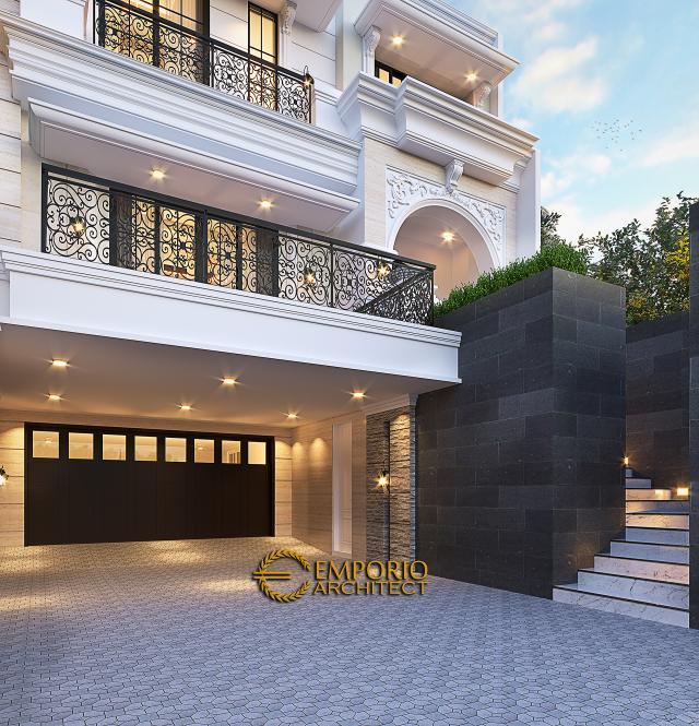 Desain Tampak Detail Depan 2 Rumah Klasik 3 Lantai Ibu Diana di Yogyakarta