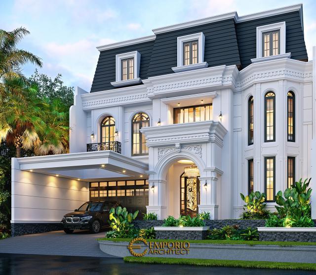 Desain Rumah Klasik 3 Lantai Mrs. M di Jakarta Barat - Tampak Depan Kanan