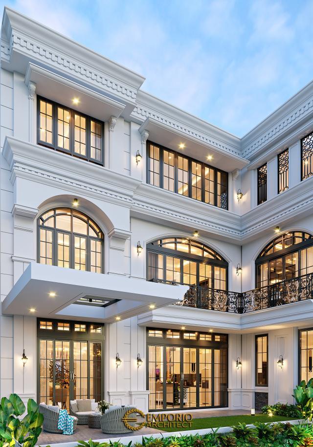 Desain Tampak Belakang Rumah Klasik 3 Lantai Mrs. M di Jakarta Barat