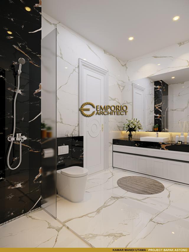Desain Kamar Mandi Utama Rumah Klasik 3 Lantai Bapak Astono di Alam Sutera, Tangerang Selatan