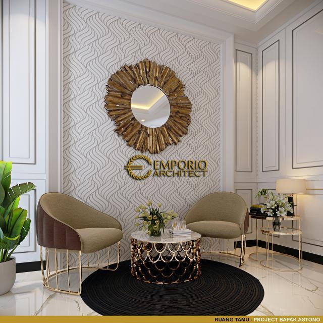 Desain Ruang Tamu Rumah Klasik 3 Lantai Bapak Astono di Alam Sutera, Tangerang Selatan