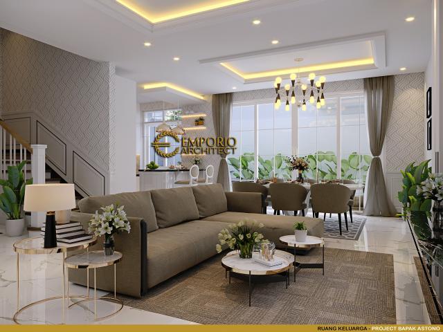 Desain Ruang Keluarga Rumah Klasik 3 Lantai Bapak Astono di Alam Sutera, Tangerang Selatan
