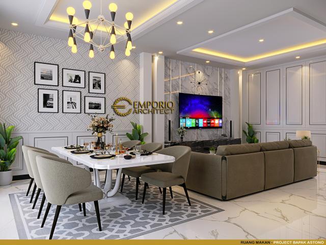 Desain Ruang Makan Rumah Klasik 3 Lantai Bapak Astono di Alam Sutera, Tangerang Selatan