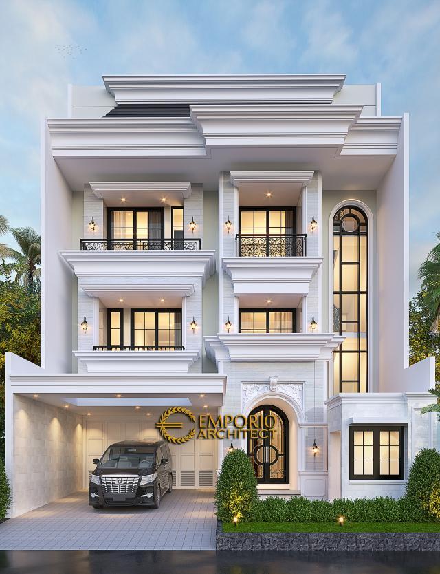 Desain Tampak Depan 3 Rumah Klasik 3.5 Lantai Ibu Irawati di Tebet, Jakarta Selatan