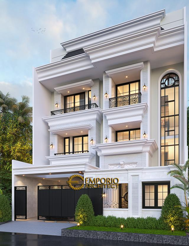 Desain Tampak Depan Dengan Pagar Rumah Klasik 3.5 Lantai Ibu Irawati di Tebet, Jakarta Selatan