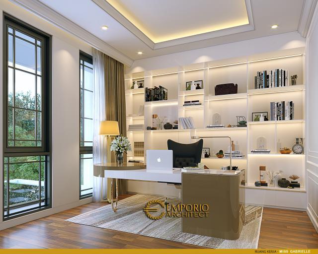 Desain Ruang Kerja Rumah Klasik 3.5 Lantai Miss Gabrielle di Jakarta