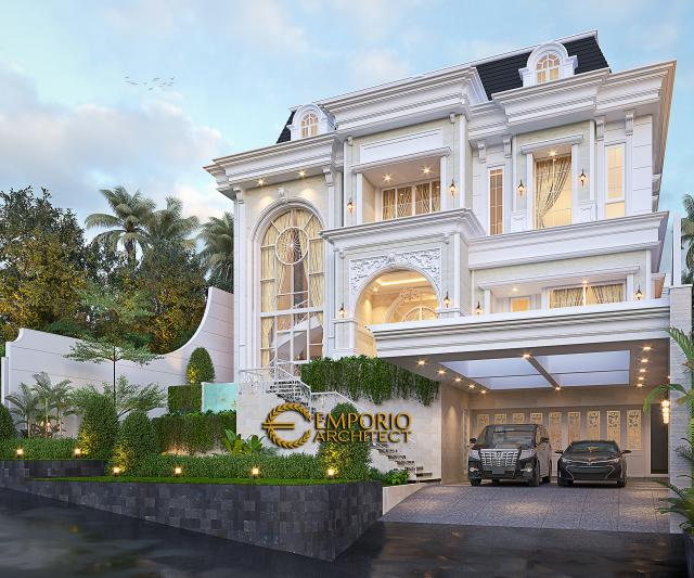 Desain Rumah Klasik 4 Lantai Ibu Agustina di Sentul City, Bogor, Jawa Barat - Tampak Depan