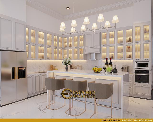 Desain Dapur Bersih Rumah Klasik 4 Lantai Ibu Agustina di Sentul City, Bogor, Jawa Barat