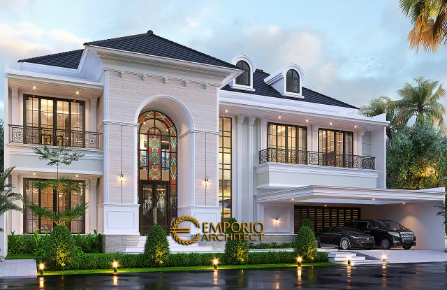 Desain Tampak Depan Tanpa Pagar 2 Rumah Klasik Mediteran 2 Lantai Bapak Martua Sinaga di Jakarta