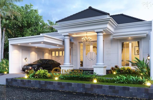 Desain Rumah Klasik Modern 1.5 Lantai Ibu Ayu di Bogor, Jawa Barat - Tampak Depan Kanan