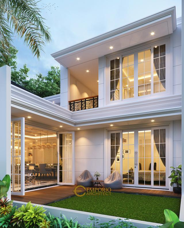 Desain Tampak Belakang Rumah Klasik Modern 1.5 Lantai Ibu Ayu di Bogor, Jawa Barat