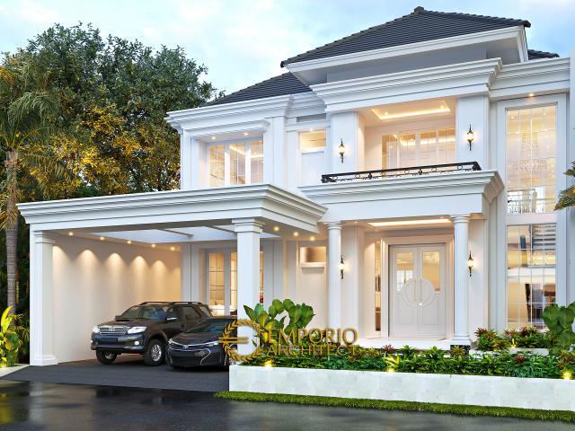 Desain Rumah Klasik Modern 2 Lantai Bapak Deni di Blitar, Jawa Timur - Tampak Depan Tanpa Pagar
