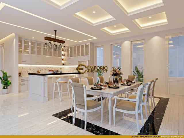 Desain Ruang Makan dan Dapur Rumah Klasik Modern 2 Lantai Bapak Deni di Blitar, Jawa Timur