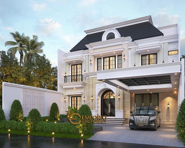 Desain Tampak Depan 2 Rumah Klasik Modern 2.5 Lantai Ibu Lily di Batam