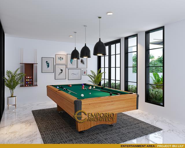 Desain Entertainment Area Rumah Klasik Modern 2.5 Lantai Ibu Lily di Batam