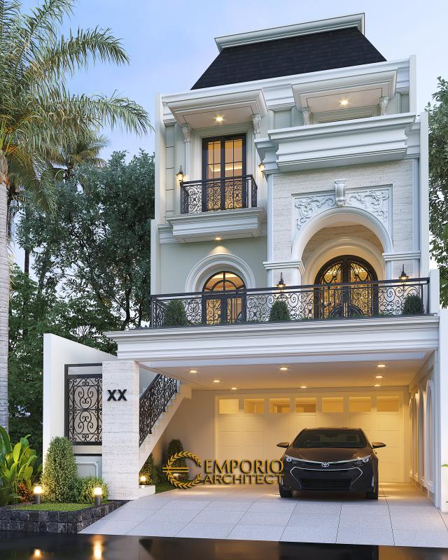 Desain Rumah Klasik Modern 3 Lantai Ibu Happy di Jakarta Selatan - Tampak Depan