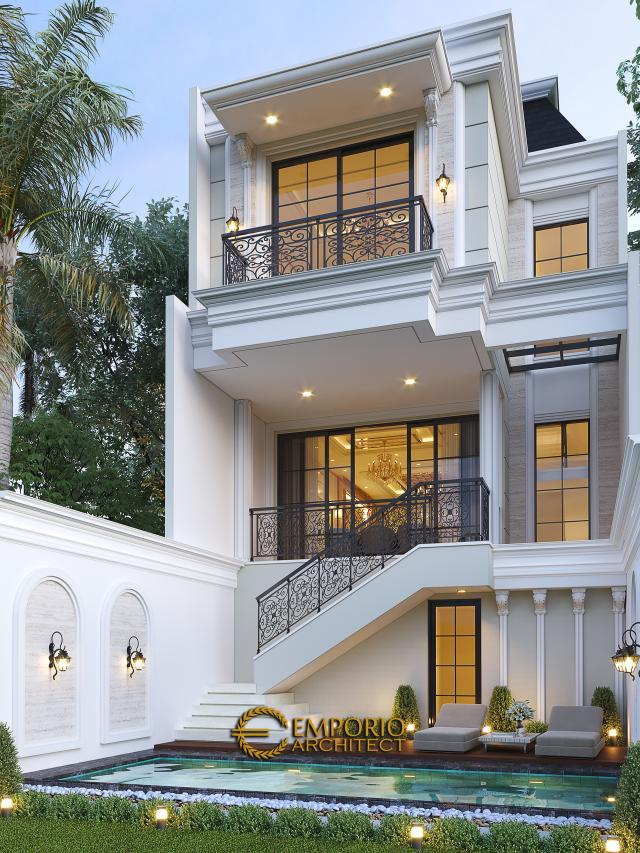 Desain Tampak Belakang Rumah Klasik Modern 3 Lantai Ibu Happy di Jakarta Selatan